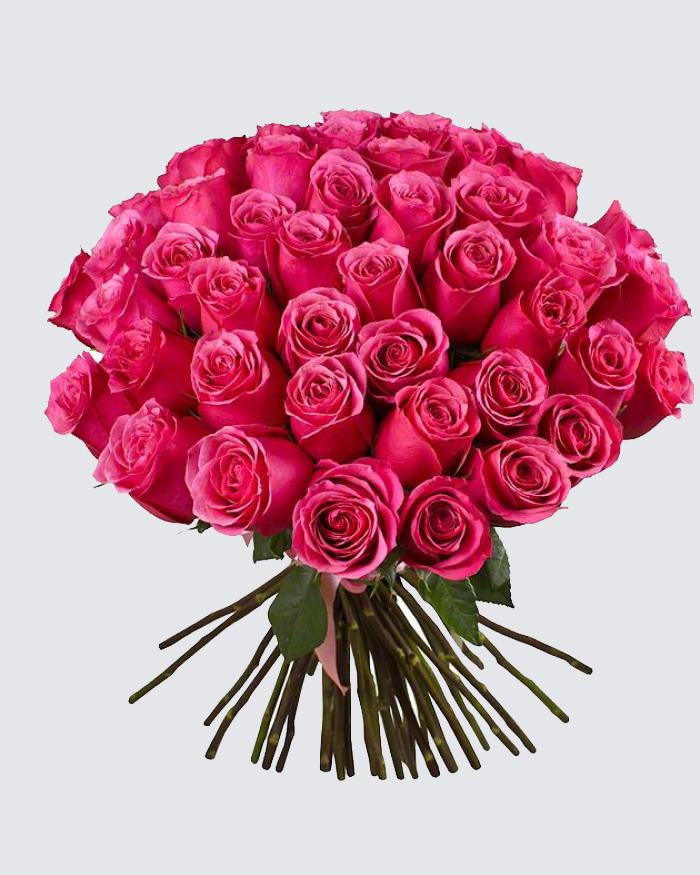 Букет роз из 25 роз розовых, букет для